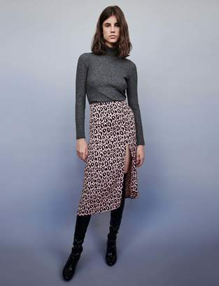 Maje Jacquard-printed split skirt