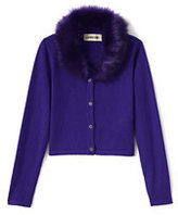 Classic Little Girls Fur Collar V-neck Sophie Cardigan-Midnight Navy Fur