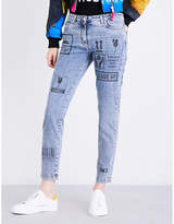 Moschino Ladies Blue Printed Ultra cool Cropped Mid-Rise Jeans