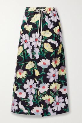 Marni - Wrap-effect Floral-print Cotton-poplin Wide-leg Pants - Black