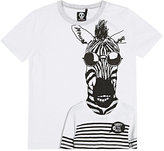 """Sorry 4 the Mess SORRY 4 THE MESS \""""FUNKY ZEBRA\"""" COTTON JERSEY T-SHIRT-WHITE SIZE 4"""
