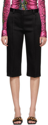 Versace Black Satin Cropped Trousers