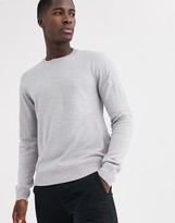 French Connection plain logo crew neck knit jumper-Grey
