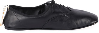 Loewe Soft Leather Derby Flats, Black