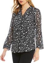 Jones New York Animal Print Roll-Up Sleeve Shirt