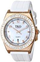 Rosegold TKO ORLOGI Women's TK580-WT Royale Clear Crystal White Rubber Strap Watch