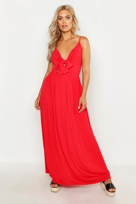 boohoo Plus Strappy Knot Front Maxi Dress
