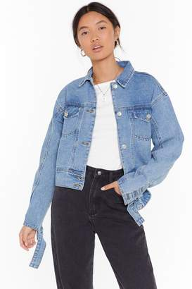 Nasty Gal Womens Wash You Go Cropped Denim Jacket - blue - S