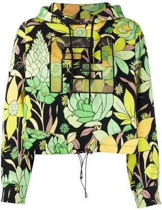 Fendi FF motif floral print hoodie