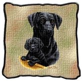 Black Lab Pups Pillow 1201-P by pure country
