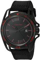Calvin Klein Men's 'Earth' Swiss Quartz Stainless Steel and Leather Automatic Watch, Color:Black (Model: K5Y31ZB1)