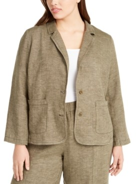 Eileen Fisher Plus Size Organic Linen Notch Collar Shaped Blazer