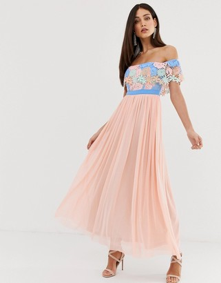 Forever U bardot maxi dress with lace trim