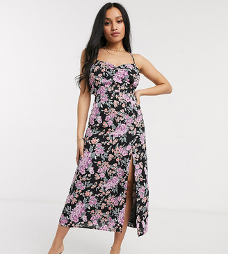 Fashion Union Petite maxi cami dress with tie back in floral