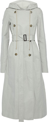 Rick Owens Coated Linen-blend Twill Hooded Trench Coat