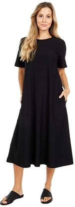 Eileen Fisher Crew Neck Short Sleeve Dress (Black) Women's Dress
