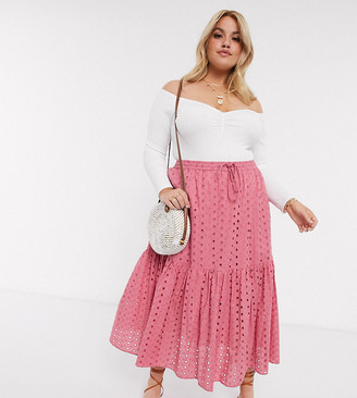 ASOS DESIGN Curve tiered broderie midi skirt in rose