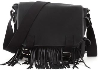 Saint Laurent Fringe Flap Messenger Bag Canvas with Leather Medium