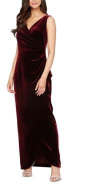 Alex Evenings Petite Velvet Surplice Gown