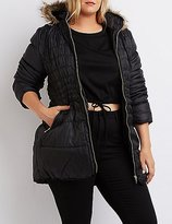 Charlotte Russe Plus Size Faux Fur-Trim Puffer Jacket