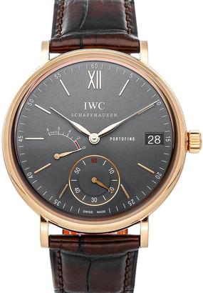 IWC Gray 18k Rose Gold Portofino Hand-Wound 8 Days IW5101-04 Men's Wristwatch 45 MM
