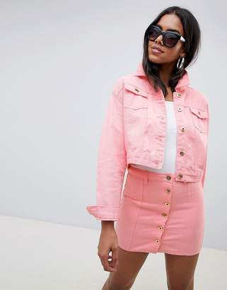 N. Liquor Poker Cropped Trucker Jacket with Gold Hardware-Pink