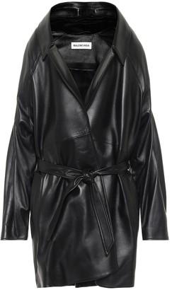 Balenciaga Pyramid belted leather jacket
