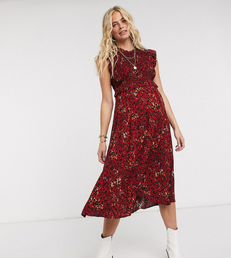 Pieces Maternity shirred midi dress in red animal print