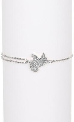 Alex and Ani Sterling Silver Dove Station Pull Chain Bracelet