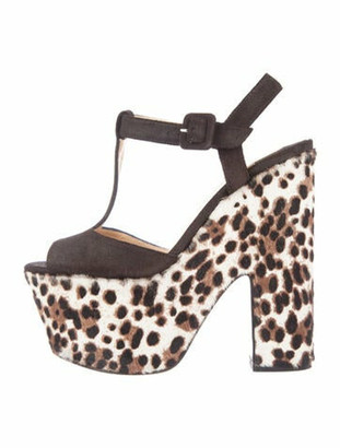 Christian Louboutin Suede Animal Print T-Strap Sandals Brown