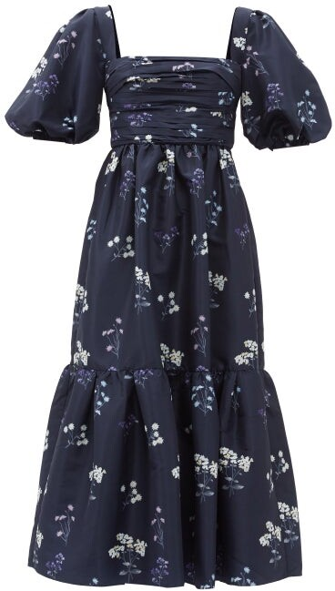 Thumbnail for your product : Self-Portrait Puff-sleeve Floral-print Taffeta Dress - Navy Print