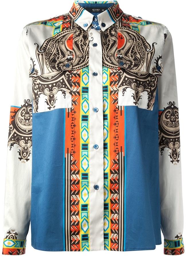 Etro mixed print shirt
