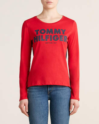 Tommy Hilfiger Scarlet & Navy Long Sleeve Rubber Logo Tee