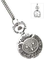 Nine Antiqued Engraved Owl-face Watch on Long Necklace