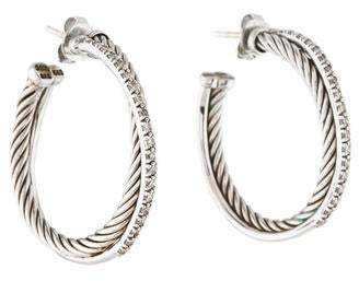 David Yurman Diamond Crossover Hoop Earrings