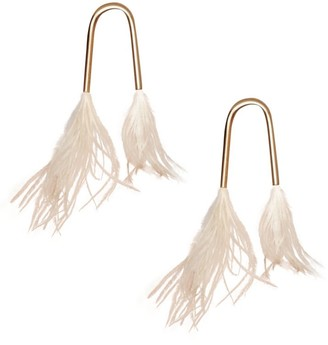 Cult Gaia Meta Feather-Trimmed Earrings