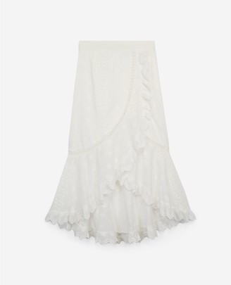 The Kooples Embroidered long ecru skirt with frills