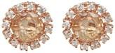 Suzanne Kalan 14K Rose Gold Circle Topaz & Sapphire Stud Earrings