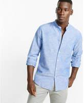 Express band collar chambray shirt