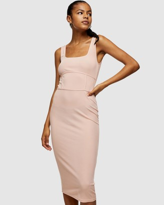 Topshop Women's Pink Midi Dresses - Seamed Bodycon Midi Dress - Size 6 at The Iconic