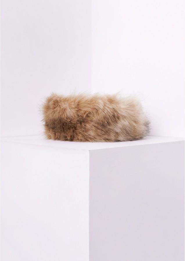 Missy Empire Delia Beige Faux Fur Headband
