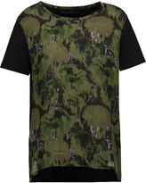 Karl Lagerfeld Kameo printed georgette and cotton-jersey T-shirt