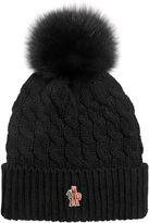 Wool Cable Knit Hat W/ Fox Fur Pom Pom