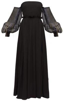 Loewe Embroidered Bardot Balloon-sleeve Crepe Dress - Womens - Black