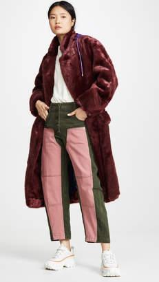 pushBUTTON Hoodie Faux Fur Coat