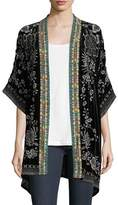 Johnny Was Okinawa Velvet Embroidered Kimono Jacket, Petite