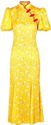 De La Vali Bluebell Floral-print Satin Midi Dress