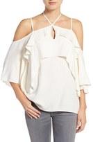 Ella Moss Women's 'Stella' Strappy Ruffle Cold Shoulder Top