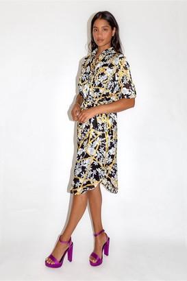 Liquorish Floral Print Midi Shirt Dress