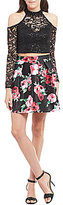 B. Darlin Cold Shoulder Sequin Lace Top Floral-Skirt Two-Piece Dress
